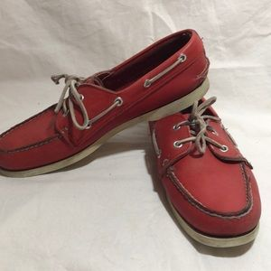 Red Leather Speery Topsider Boating Shoe 8.5